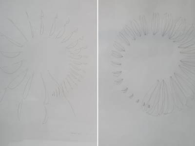 Ouroborus III & IV(series of copper wire concept sketches) at Turbine hall Art Fair.